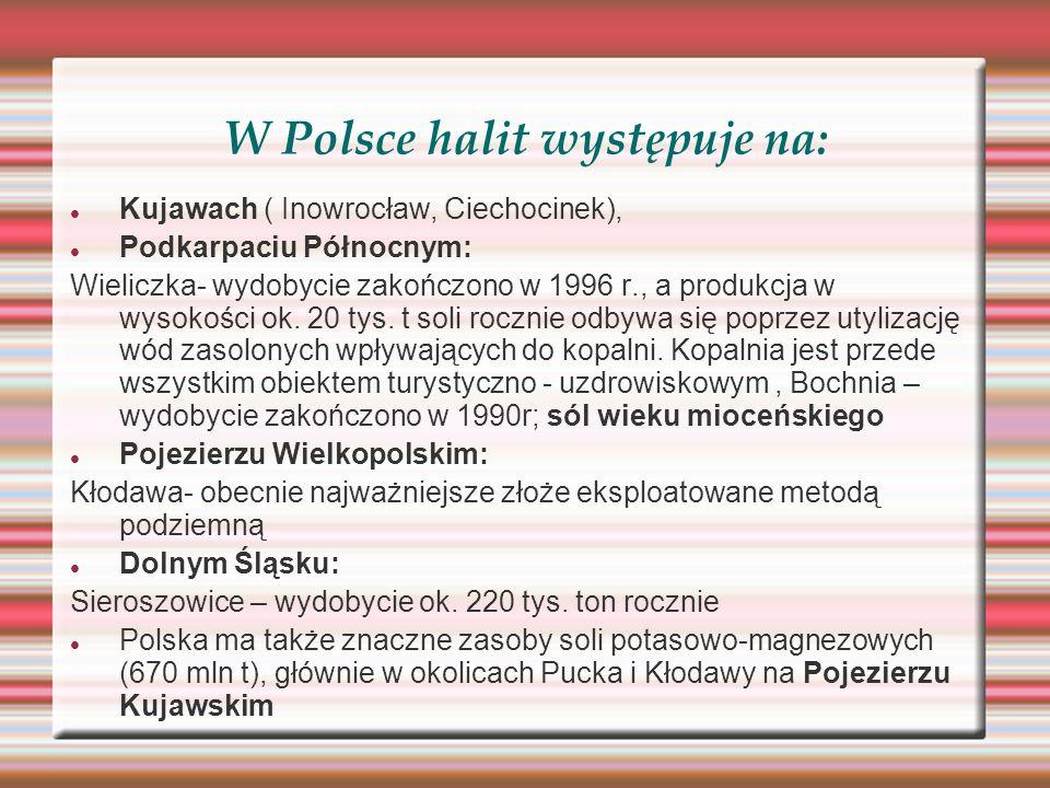 W Polsce halit występuje na: