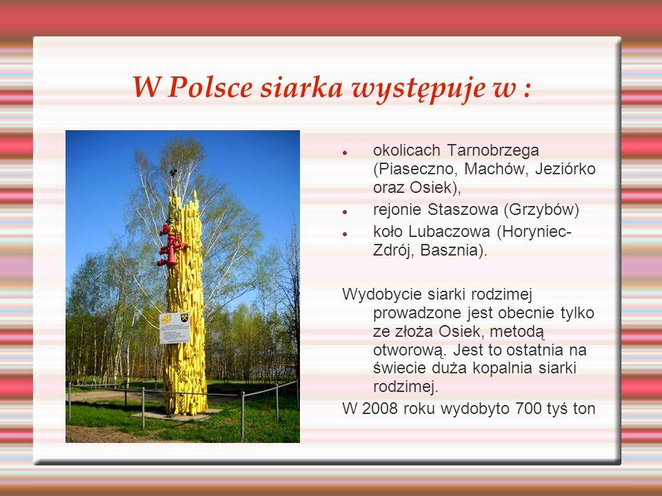 W Polsce siarka występuje w :