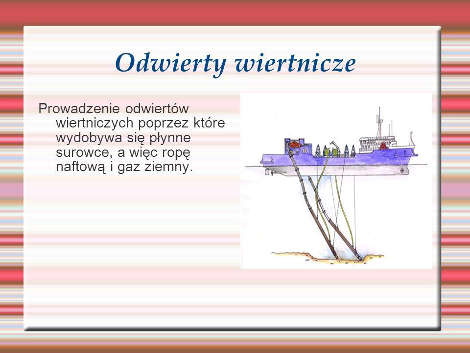 Odwierty wiertnicze Prowadzenie odwiertów wiertniczych poprzez które wydobywa się płynne surowce, a więc ropę naftową i gaz ziemny.