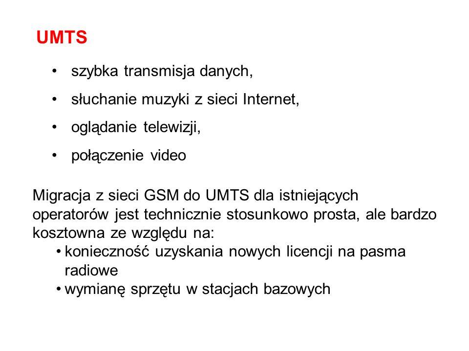 UMTS szybka transmisja danych, słuchanie muzyki z sieci Internet,