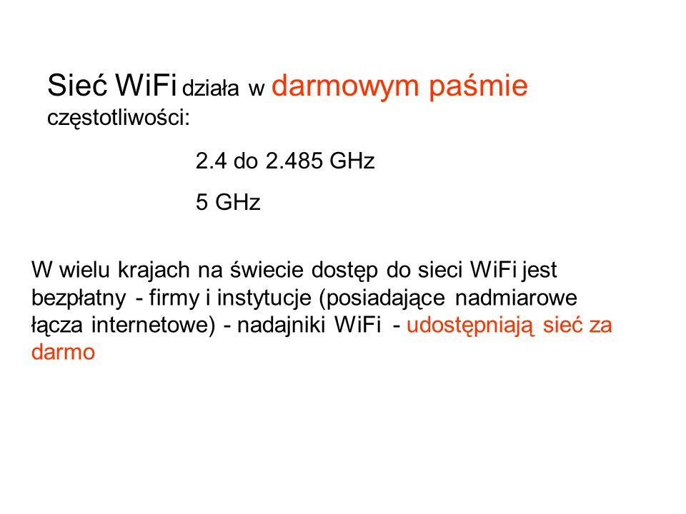 Sieć WiFi działa w darmowym paśmie częstotliwości: