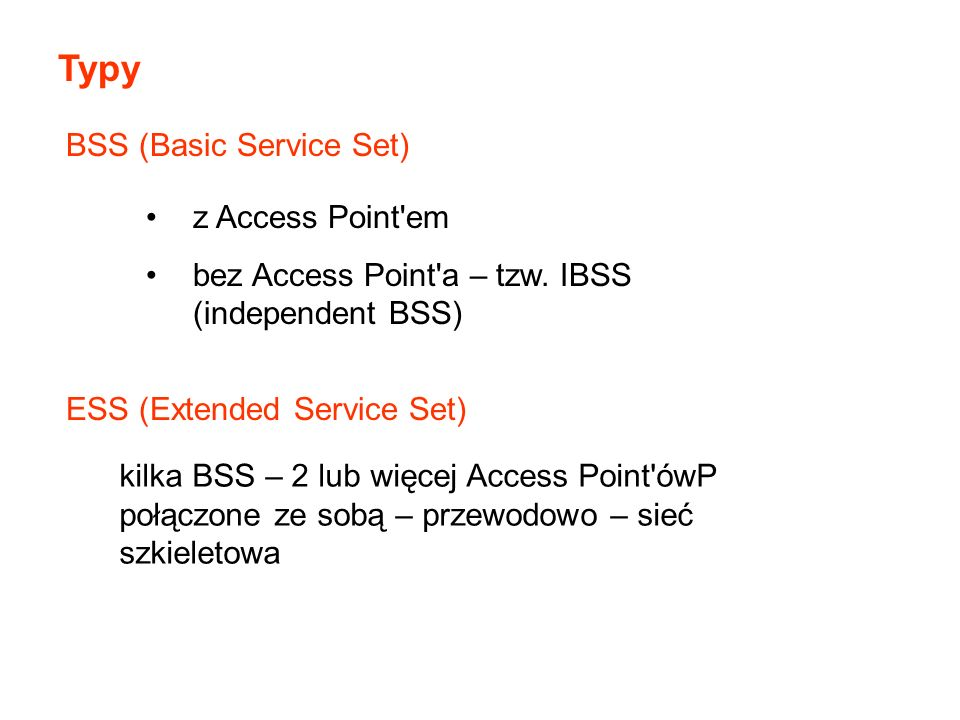 Typy BSS (Basic Service Set) z Access Point em