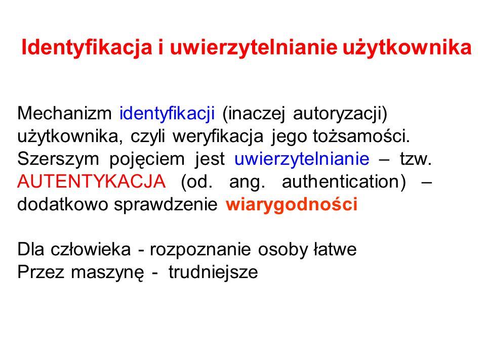 Identyfikacja i uwierzytelnianie użytkownika