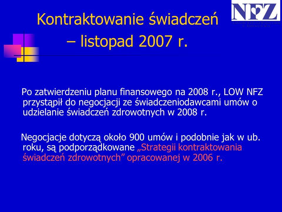 Kontraktowanie świadczeń – listopad 2007 r.
