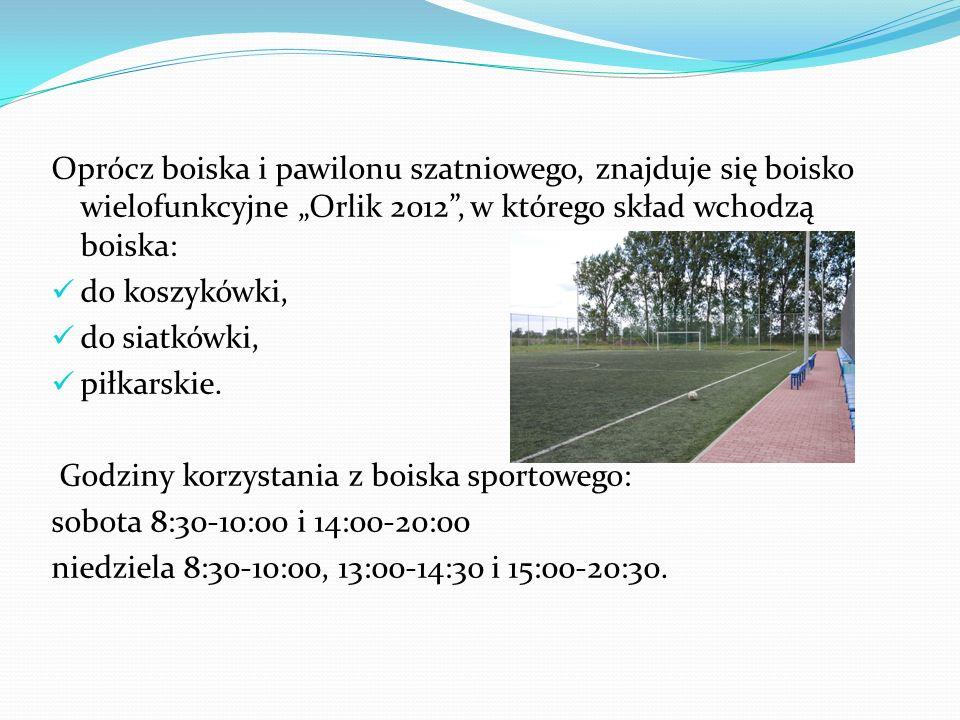"""Oprócz boiska i pawilonu szatniowego, znajduje się boisko wielofunkcyjne """"Orlik 2012 , w którego skład wchodzą boiska:"""