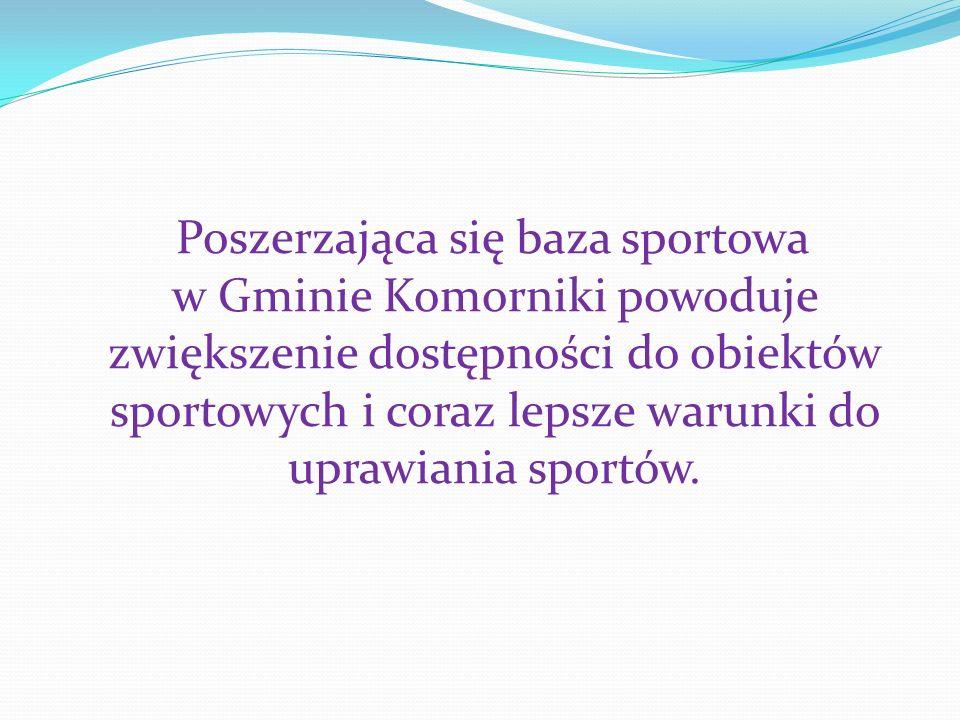 Poszerzająca się baza sp0rtowa w Gminie Komorniki powoduje zwiększenie dostępności do obiektów sportowych i coraz lepsze warunki do uprawiania sportów.