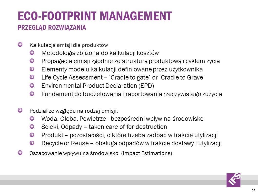 Eco-footprint Management Przegląd rozwiązania