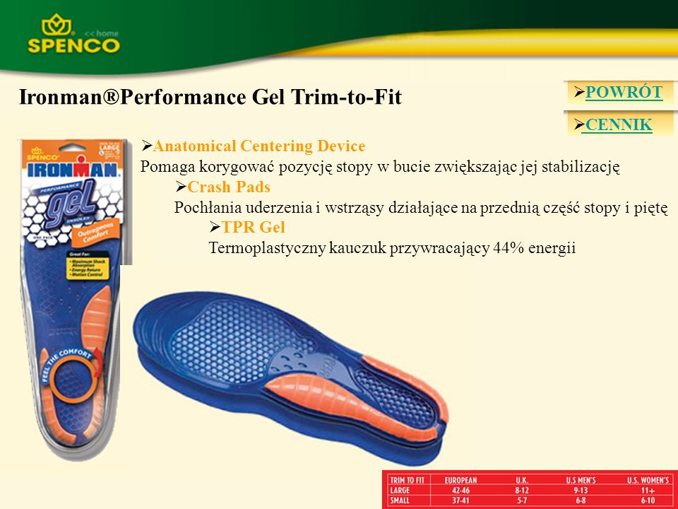 Ironman®Performance Gel Trim-to-Fit