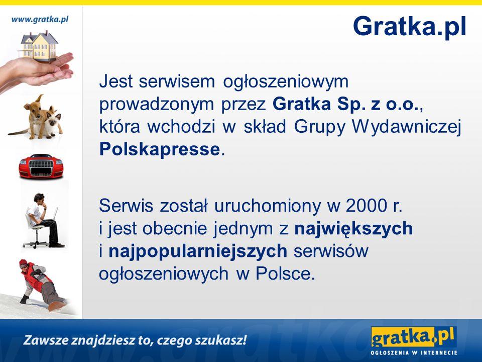 Gratka.pl Jest serwisem ogłoszeniowym prowadzonym przez Gratka Sp. z o.o., która wchodzi w skład Grupy Wydawniczej Polskapresse.