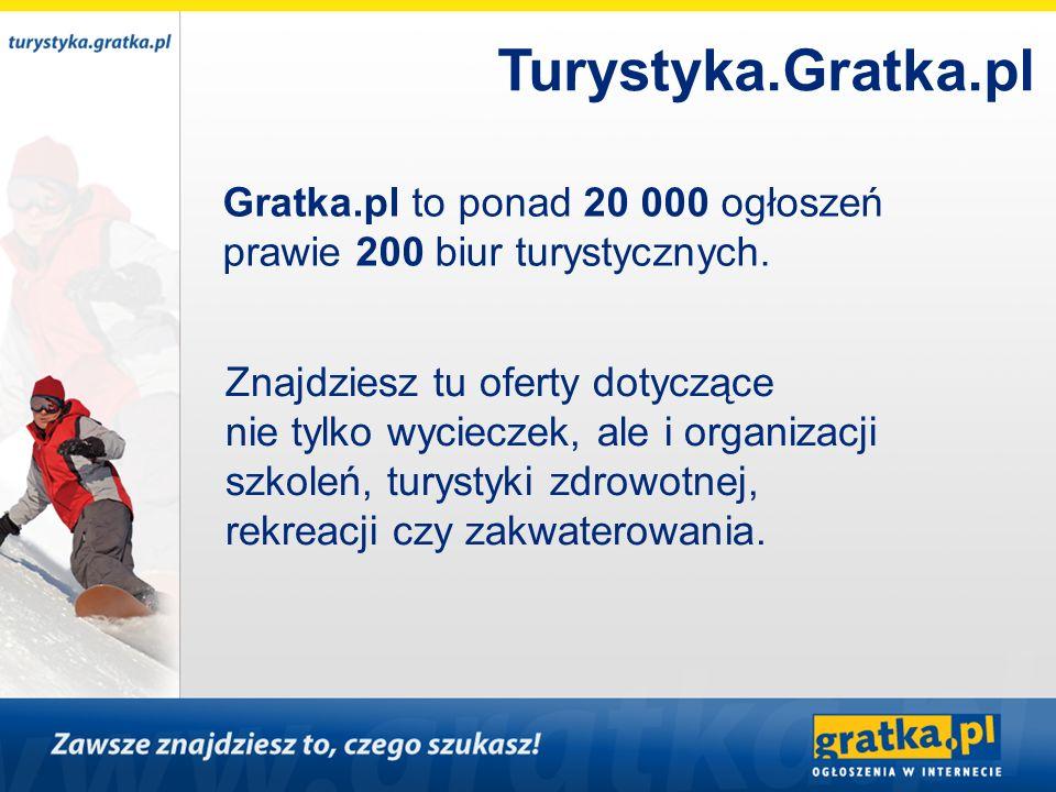 Turystyka.Gratka.pl Gratka.pl to ponad 20 000 ogłoszeń