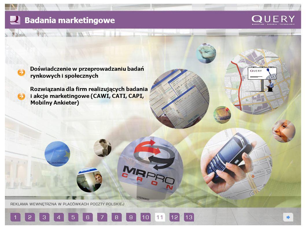 Badania marketingowe Doświadczenie w przeprowadzaniu badań rynkowych i społecznych.
