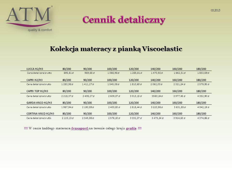 Kolekcja materacy z pianką Viscoelastic