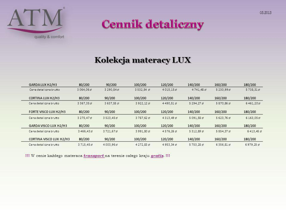 Cennik detaliczny Kolekcja materacy LUX 03.2013