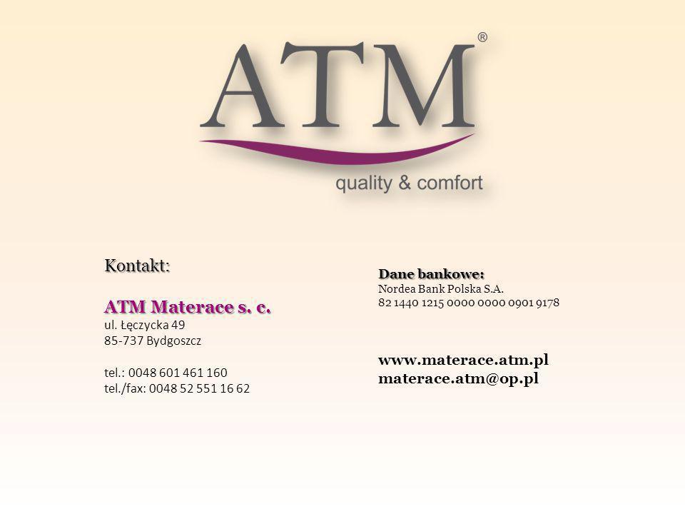 Kontakt: ATM Materace s. c. www.materace.atm.pl materace.atm@op.pl