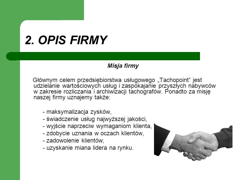 2. OPIS FIRMY Misja firmy.