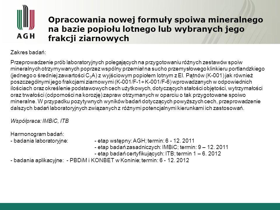 Opracowania nowej formuły spoiwa mineralnego na bazie popiołu lotnego lub wybranych jego frakcji ziarnowych