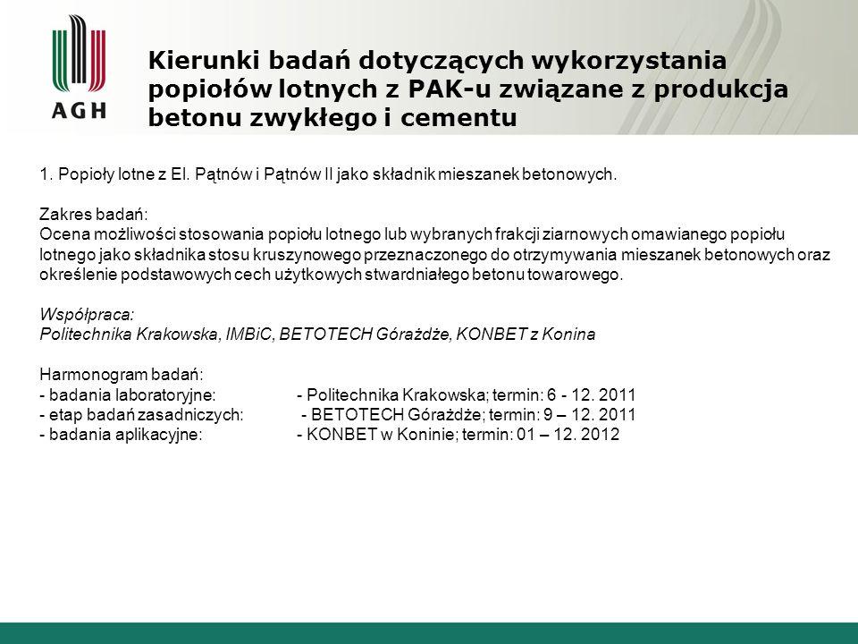 Kierunki badań dotyczących wykorzystania popiołów lotnych z PAK-u związane z produkcja betonu zwykłego i cementu