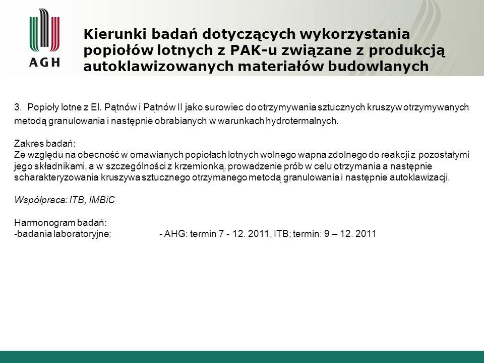 Kierunki badań dotyczących wykorzystania popiołów lotnych z PAK-u związane z produkcją autoklawizowanych materiałów budowlanych