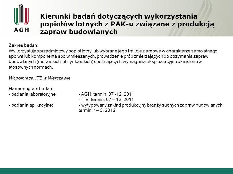 Kierunki badań dotyczących wykorzystania popiołów lotnych z PAK-u związane z produkcją zapraw budowlanych
