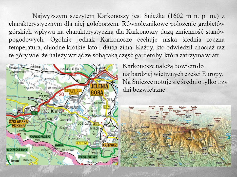 Najwyższym szczytem Karkonoszy jest Śnieżka (1602 m n. p. m