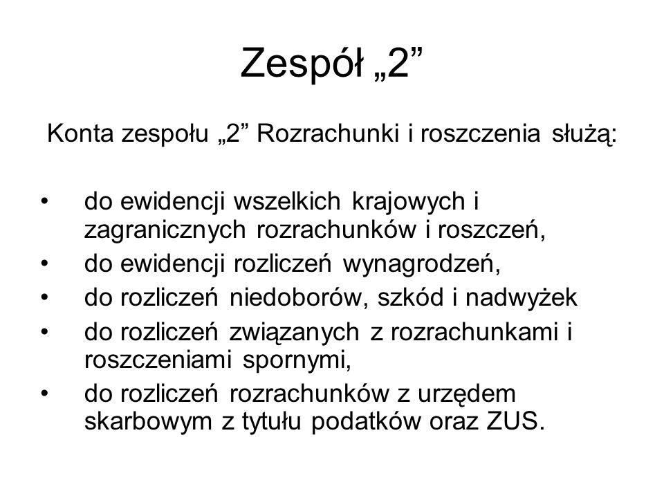 """Konta zespołu """"2 Rozrachunki i roszczenia służą:"""