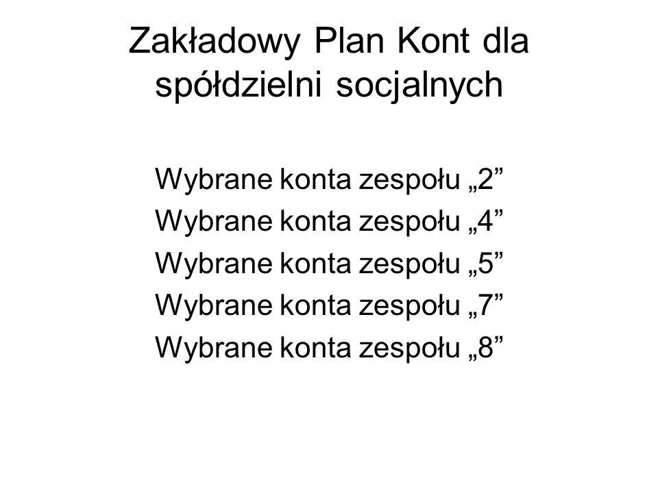 Zakładowy Plan Kont dla spółdzielni socjalnych