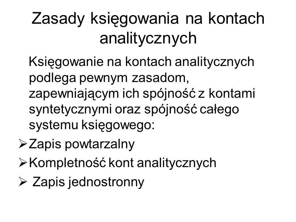 Zasady księgowania na kontach analitycznych