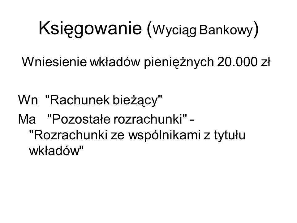 Księgowanie (Wyciąg Bankowy)