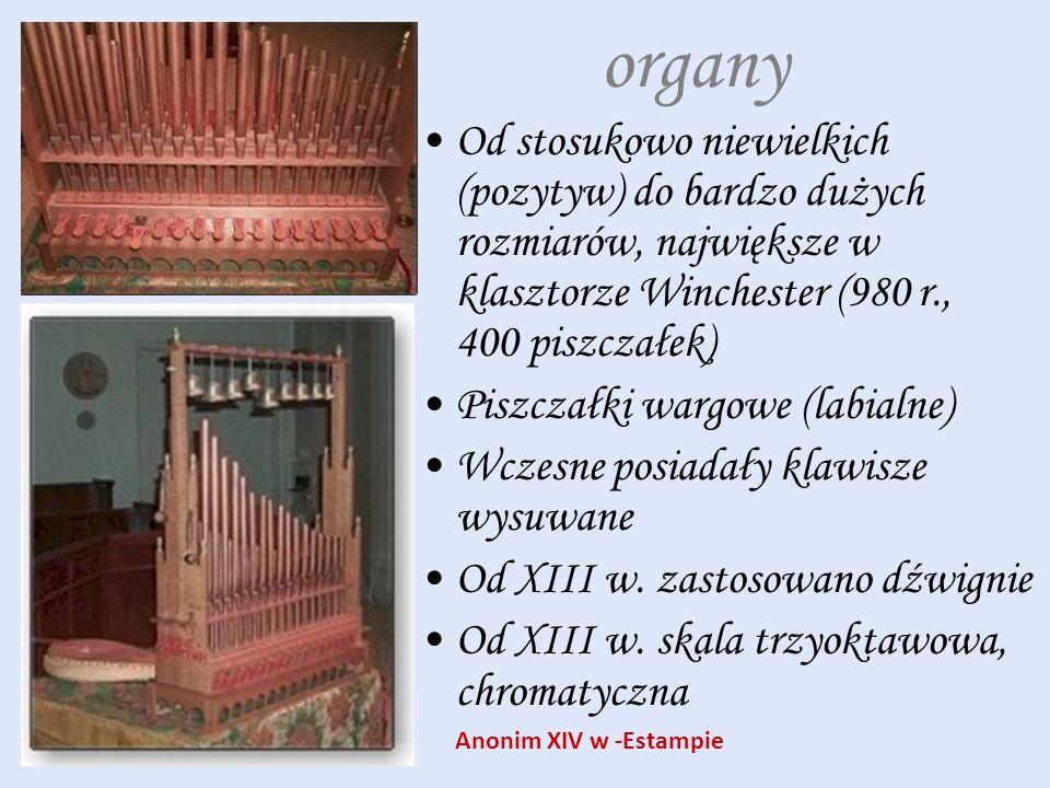 organy Od stosukowo niewielkich (pozytyw) do bardzo dużych rozmiarów, największe w klasztorze Winchester (980 r., 400 piszczałek)