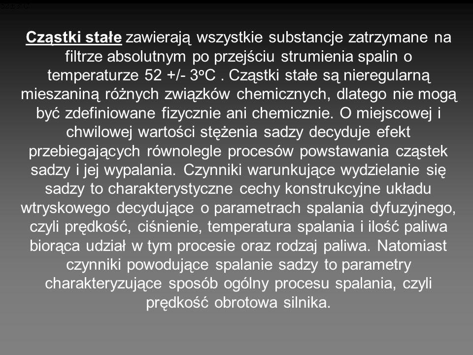 Cząstki stałe zawierają wszystkie substancje zatrzymane na filtrze absolutnym po przejściu strumienia spalin o temperaturze 52 +/- 3oC .