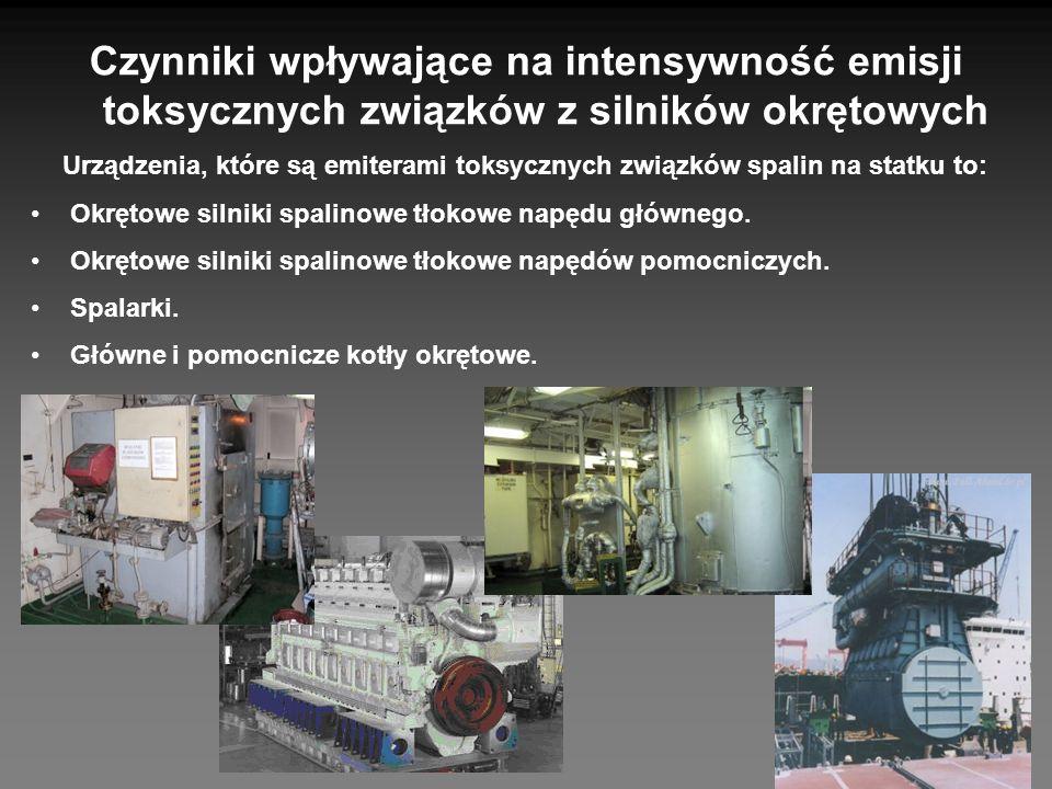Czynniki wpływające na intensywność emisji toksycznych związków z silników okrętowych