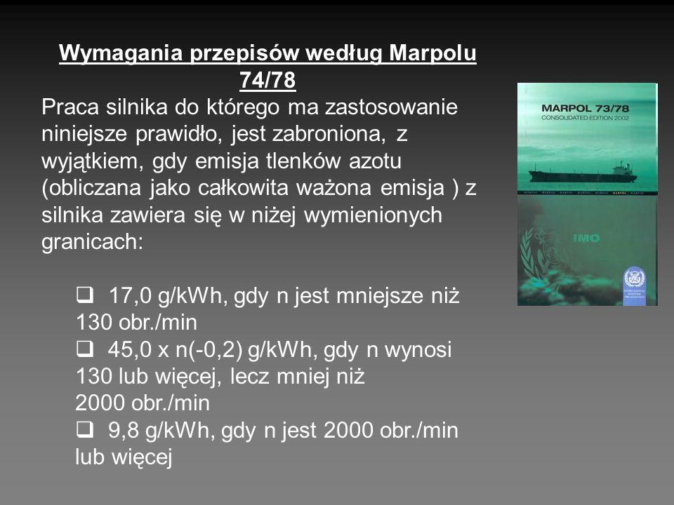 Wymagania przepisów według Marpolu 74/78