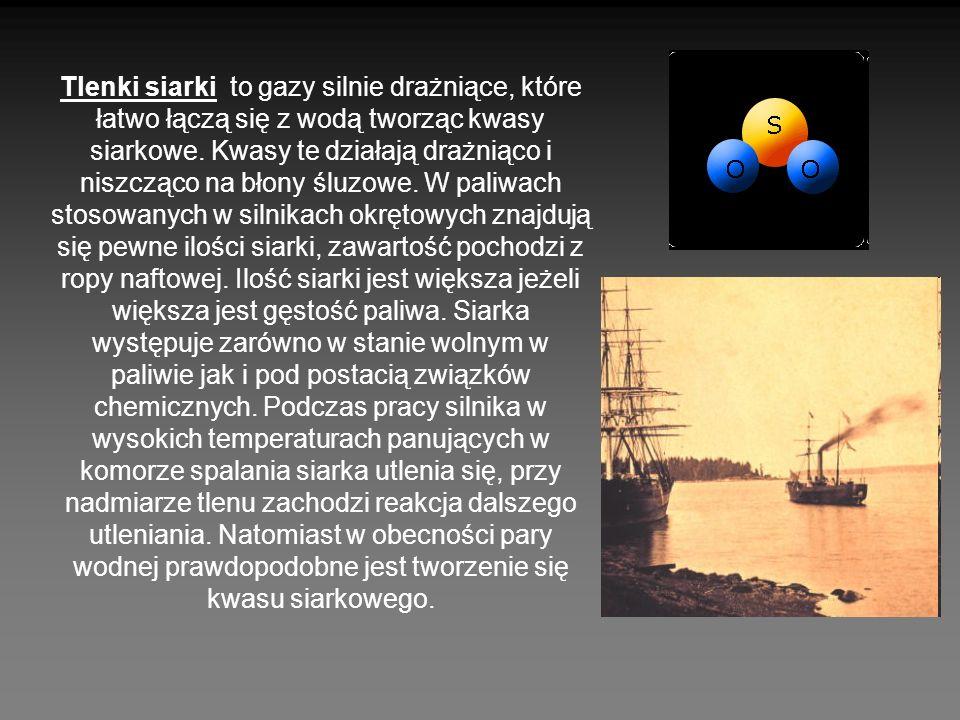 Tlenki siarki to gazy silnie drażniące, które łatwo łączą się z wodą tworząc kwasy siarkowe.