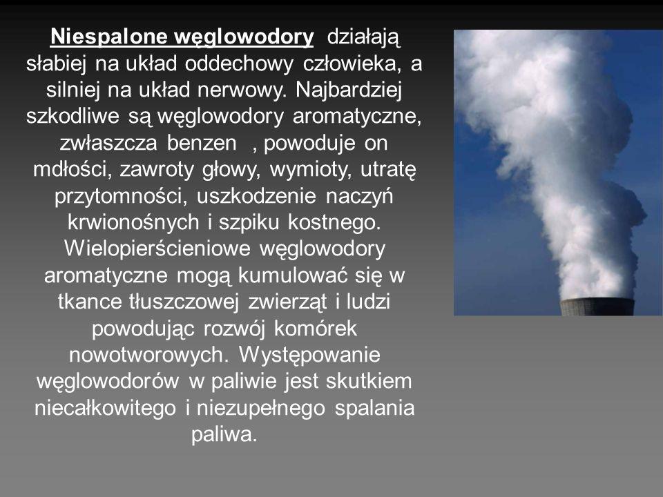 Niespalone węglowodory działają słabiej na układ oddechowy człowieka, a silniej na układ nerwowy.
