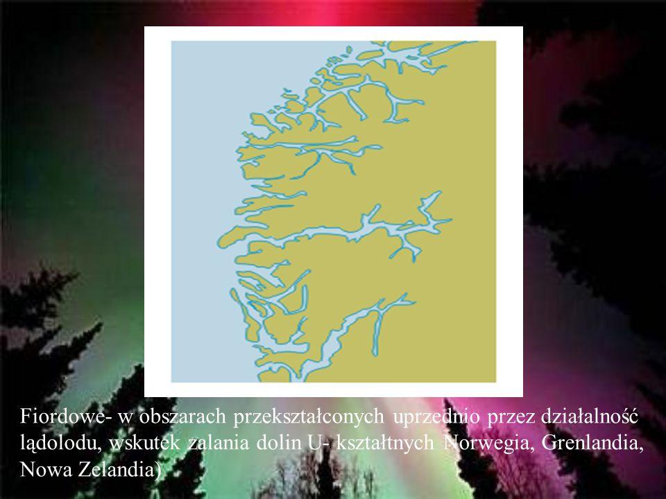 Fiordowe- w obszarach przekształconych uprzednio przez działalność lądolodu, wskutek zalania dolin U- kształtnych Norwegia, Grenlandia, Nowa Zelandia)