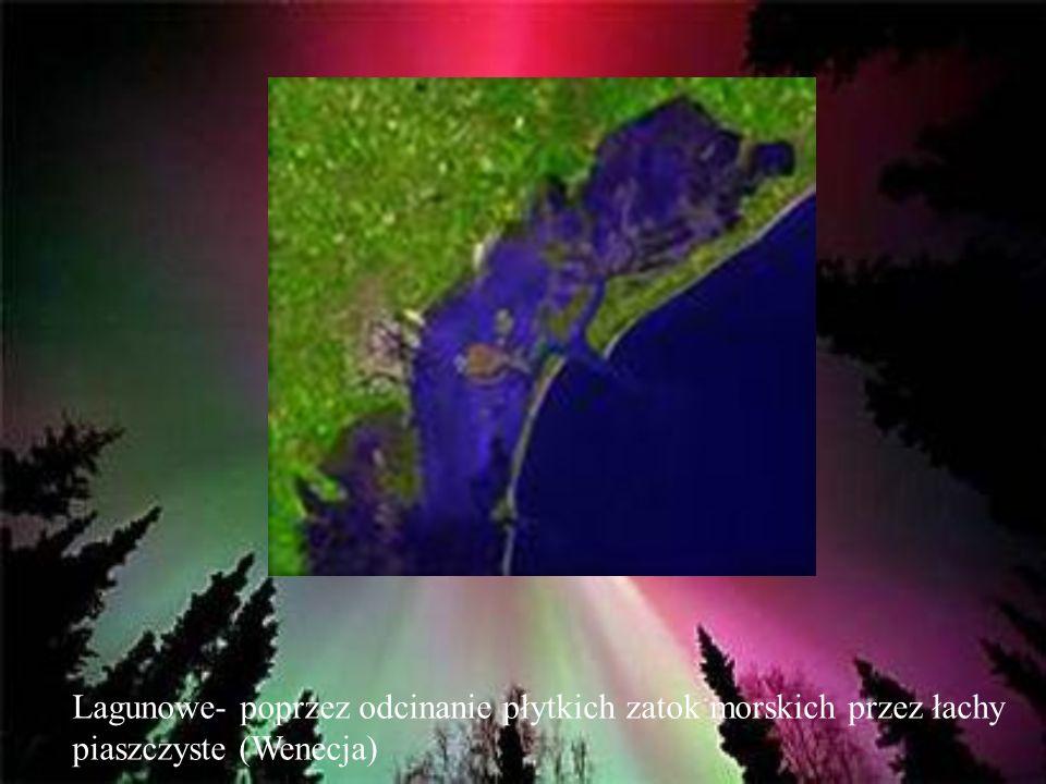 Lagunowe- poprzez odcinanie płytkich zatok morskich przez łachy piaszczyste (Wenecja)