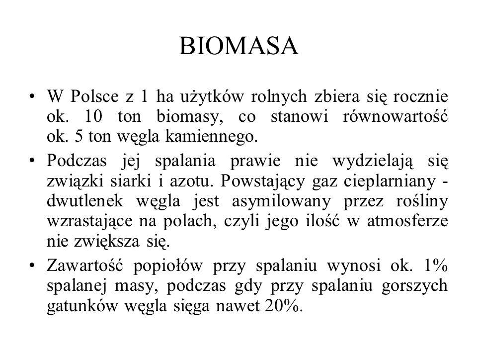 BIOMASA W Polsce z 1 ha użytków rolnych zbiera się rocznie ok. 10 ton biomasy, co stanowi równowartość ok. 5 ton węgla kamiennego.