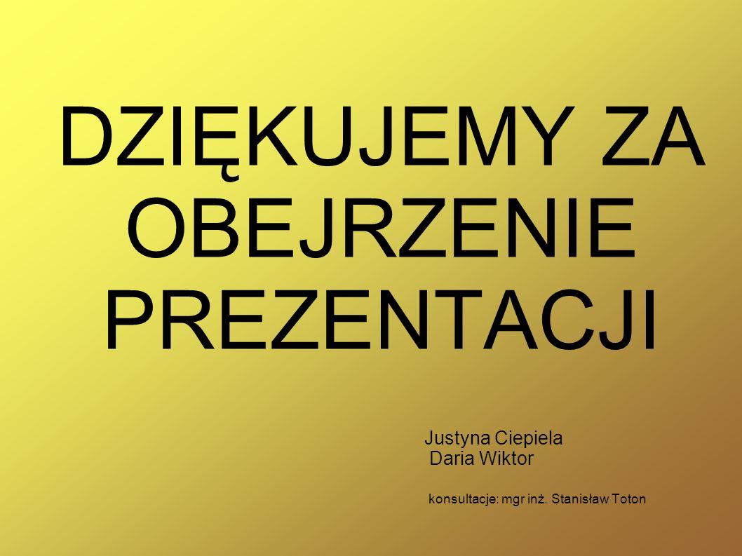 Justyna Ciepiela Daria Wiktor konsultacje: mgr inż. Stanisław Toton
