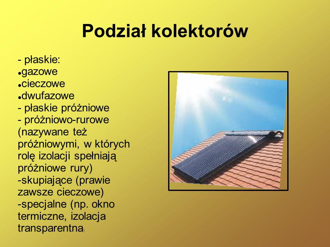 Podział kolektorów - płaskie: gazowe cieczowe dwufazowe