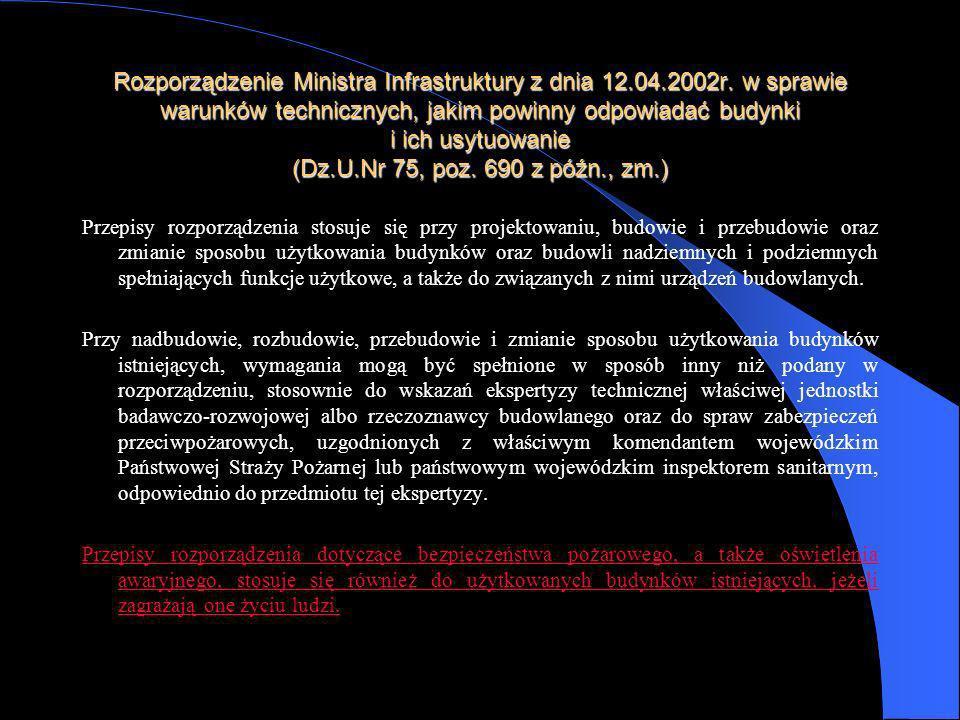 Rozporządzenie Ministra Infrastruktury z dnia 12. 04. 2002r