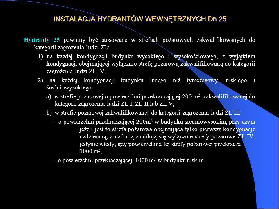 INSTALACJA HYDRANTÓW WEWNĘTRZNYCH Dn 25