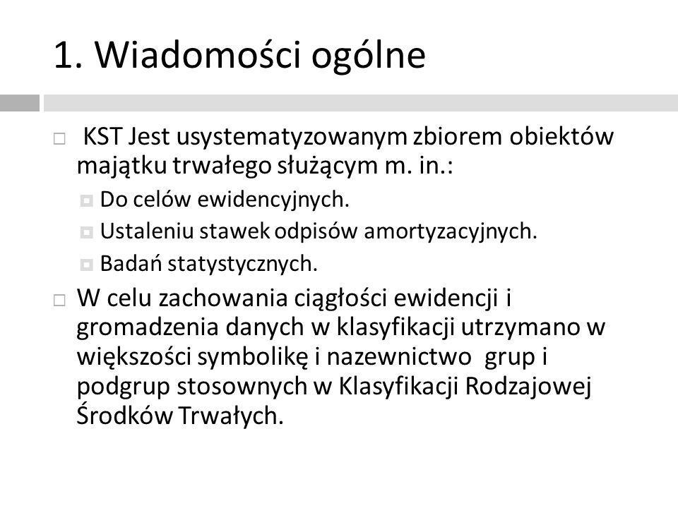 1. Wiadomości ogólne KST Jest usystematyzowanym zbiorem obiektów majątku trwałego służącym m. in.: