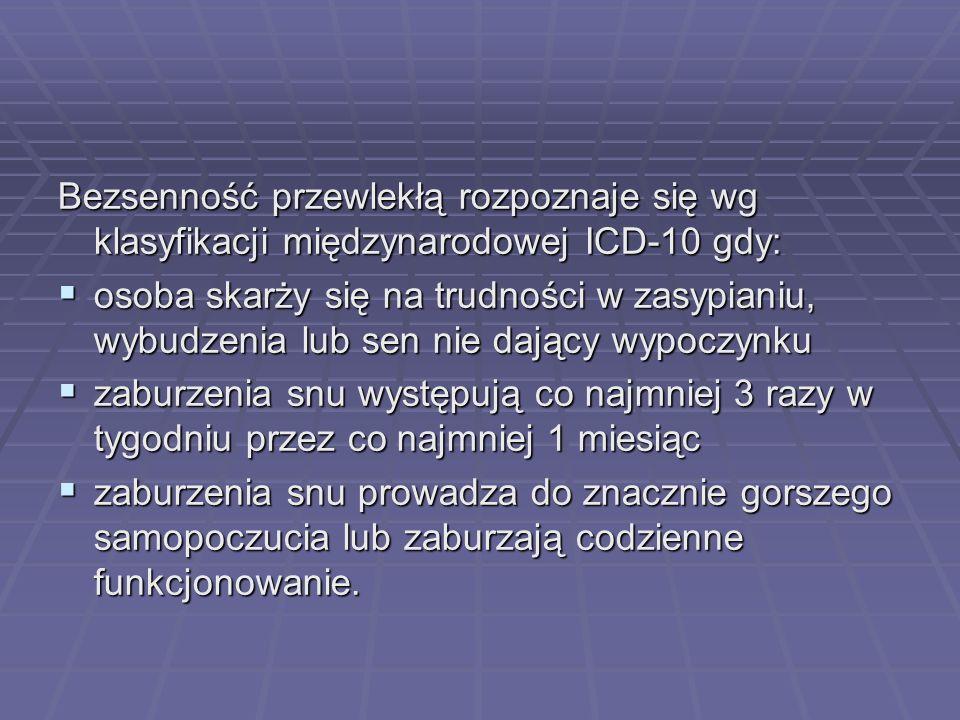 Bezsenność przewlekłą rozpoznaje się wg klasyfikacji międzynarodowej ICD-10 gdy: