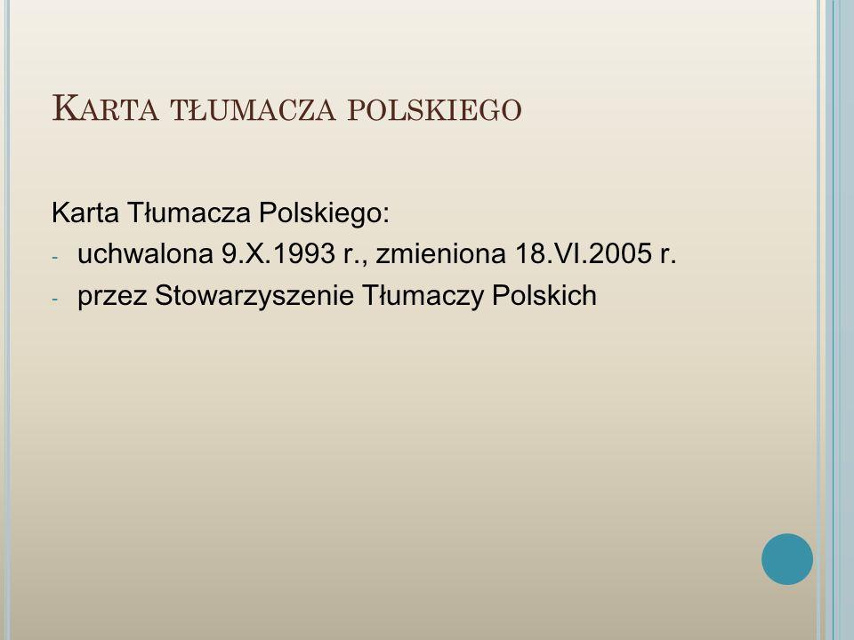 Karta tłumacza polskiego