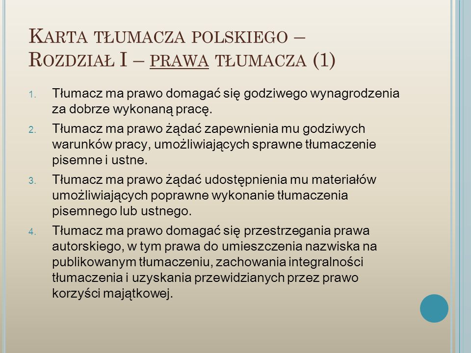 Karta tłumacza polskiego – Rozdział I – prawa tłumacza (1)