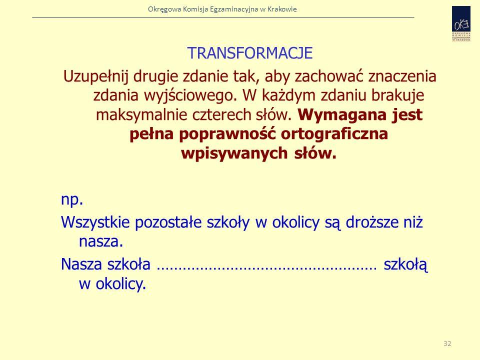 TRANSFORMACJE Uzupełnij drugie zdanie tak, aby zachować znaczenia zdania wyjściowego.
