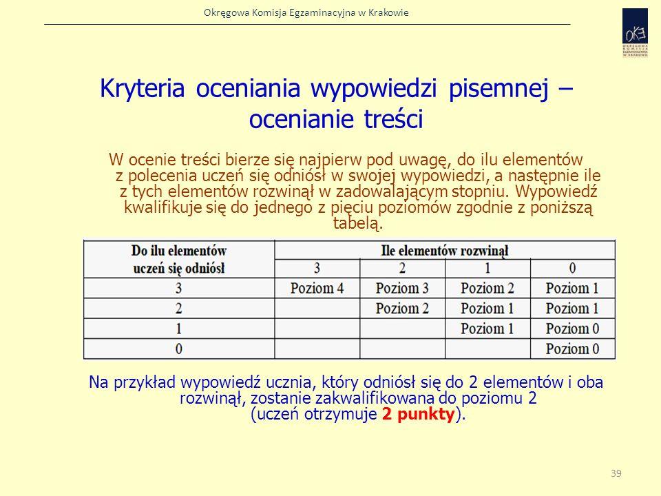 Kryteria oceniania wypowiedzi pisemnej – ocenianie treści