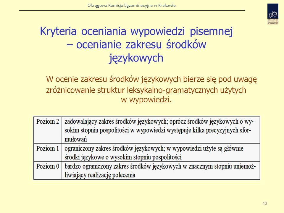 Kryteria oceniania wypowiedzi pisemnej – ocenianie zakresu środków językowych