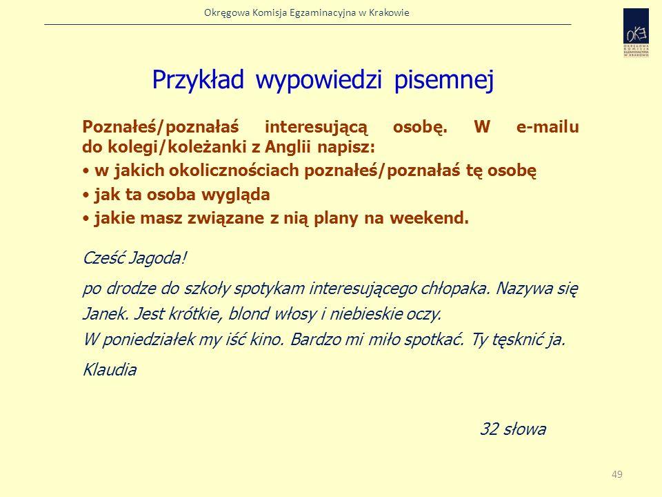 Przykład wypowiedzi pisemnej