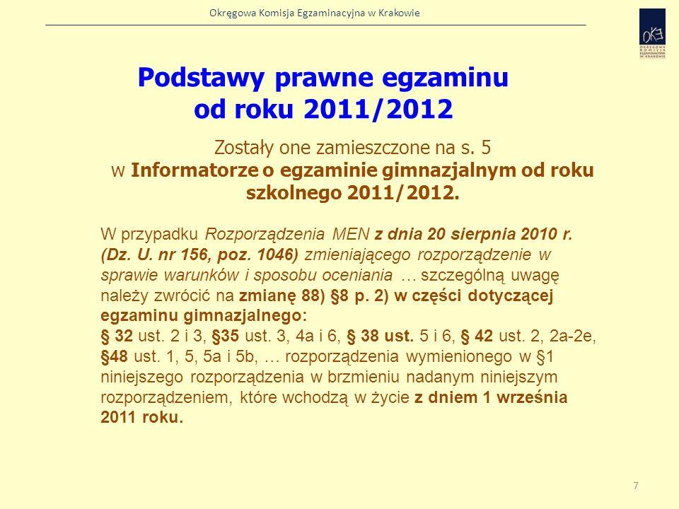 Podstawy prawne egzaminu od roku 2011/2012